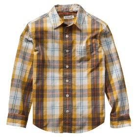 Boys' cherokee® yellow gold plaid long-sleeve woven shirt