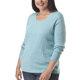 Womens' plus-size merona® aqua long-sleeve cable sweater
