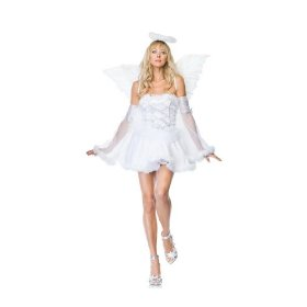 Sexy adult womens halloween costumes heaven angel white dress costume theme party outfit leg avenue