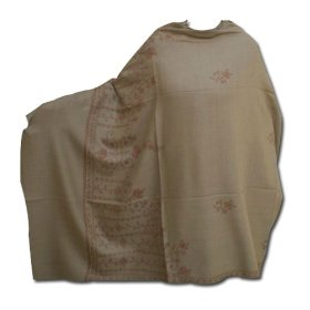 Handmade cashmere embroidered semi pashmina shawl in wool with booties shwl0013r