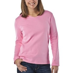 Cherokee® women's v-neck long sleeve tee - strawberry shake