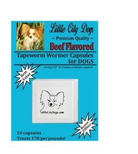 BEEF FLAVORED Praziquantel Tapeworm Wormer Capsules for Dogs (10 Capsules)