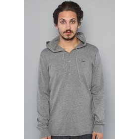 Rvca the hood two henley sweater in gray noise,sweaters for men