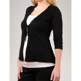 A pea in the pod collection: 3/4 sleeve tie front maternity cardigan