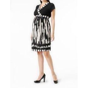 A pea in the pod: short sleeve faux wrap maternity dress