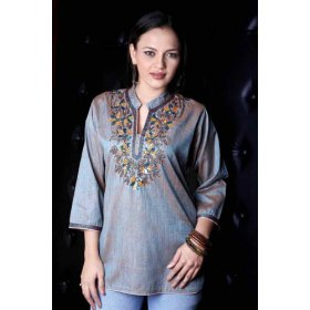 Two tone poly cotton kurti / tunic / womens top