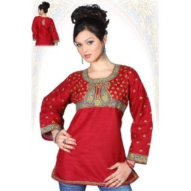 Art silk maroon red long sleeves kurti/tunic