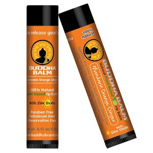 Buddha Balm Premium 100% Natural Plant Based Lip Balm 4 PACK, Mandarin Orange Ginger