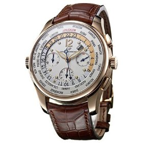 Girard-perregaux 49805-52-694sbaca worldtimer ww.tc silver dial leather automatic men's watch