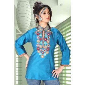 Blue raw silk kurti with multicolour embroidery and jute work on the neckline and collar.
