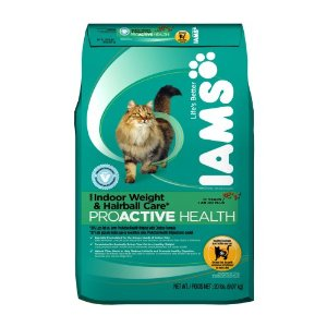 Iams Proactive Health Adult Cat indoor Weight and Hairball Care Formula, 20-Pound Bags
