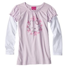 Girls' hello kitty pink long-sleeve 2-fer glitter graphic shirt