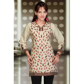 Cream with a hint of green art silk kurti from india with all over embroidery