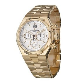 Vacheron constantin 49150-b01j-9215 overseas silver dial 18k yellow gold automatic men's watch