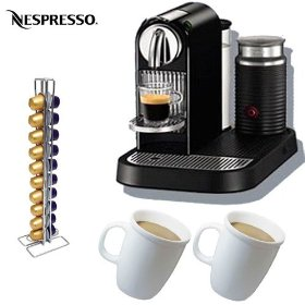 Nespresso citiz d120 automatic espresso maker and milk frother, limousine black with nespresso capsu