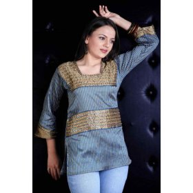 Golden blue dupion silk kurti / tunic with stripes