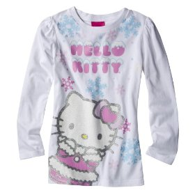 Girls' hello kitty white long-sleeve glitter graphic shirt