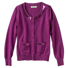 Girls' cherokee® pink long-sleeve cardigan sweater