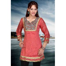 Pinkish red brasso fabric anarkali style kurti