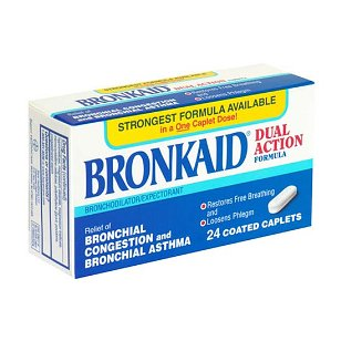 Bronkaid dual action bronchial relief, coated caplets, 24 coated caplets