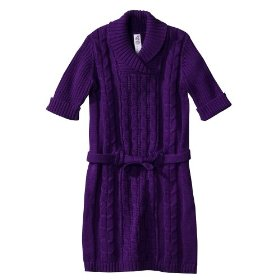 Infant toddler girls' cherokee® violet short-sleeve belted shawl dress