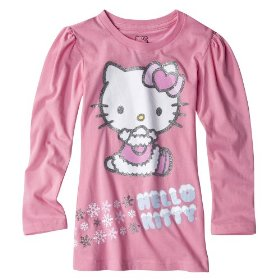 Girls' hello kitty pink long-sleeve glitter graphic shirt