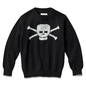 Boys' cherokee® black skull long-sleeve sweater