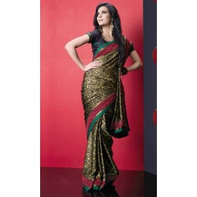 Aloki printed georgette saree / sari fabric for casual wear