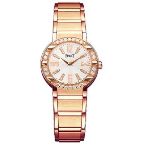 Piaget polo 18k rose gold ladies' watch silver diamond dial diamond bezel goa33031