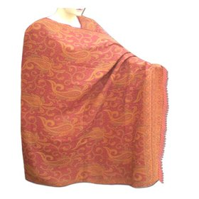 Indian handmade wool shawl in paisley design with leaf work a gift for everyone shw0099r