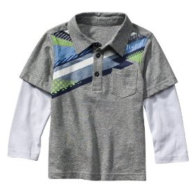 Infant toddler boys' utility® grey long-sleeve geo polo