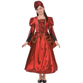 Girls' baroque queen deluxe costume - red