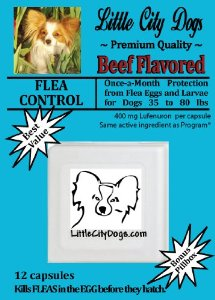 Little City Dogs once-a-month FLEA CONTROL Capsules for Dogs 35 to 80 lbs - TWELVE 400 mg Lufenuron
