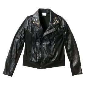 Girls' disney sonny munroe pleather biker jacket - black