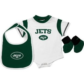 Reebok new york jets newborn creeper, bib & bootie set