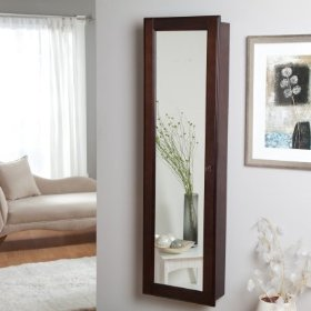 Wall-mounted wooden jewelry armoire white - ewb074-4