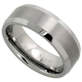 Tungsten carbide 8 mm (5/16 in.) comfort fit flat wedding band ring w/ brushed center & beveled edge