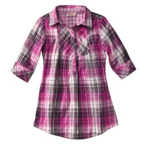 Girls' mossimo supply co. pink plaid 3/4 sleeve woven tunic