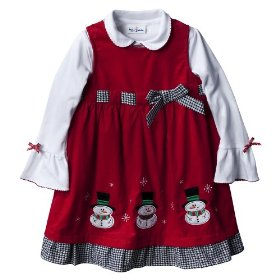 Infant toddler girls' red snowman corduroy dress set