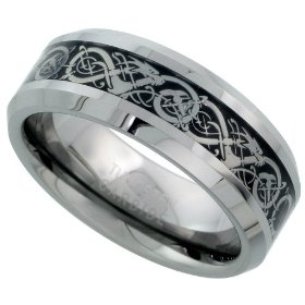Tungsten carbide 8 mm (5/16 in.) comfort fit flat wedding band ring w/ celtic dragon inlay, size 7