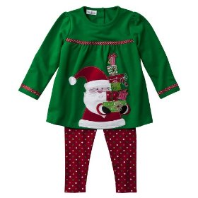 Infant toddler girls' green knit santa tunic set