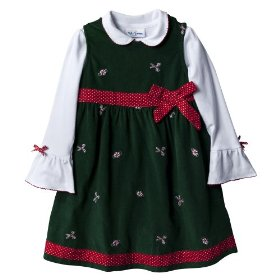 Infant toddler girls' green candy cane corduroy dress set