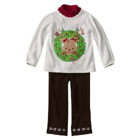 Infant toddler girls' ivory wreath sweater and pant set
