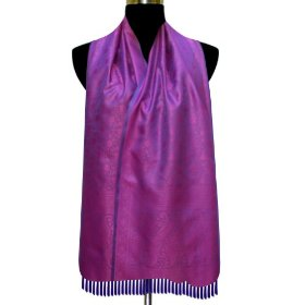 Special gift for her, handmade self design semi silk rectangular scarf for women scrf0032r