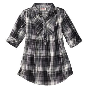 Girls' mossimo supply co. black plaid 3/4 sleeve woven tunic