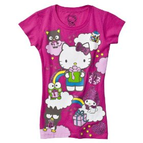 Girls' hello kitty pink 50th anniversary glitter tee