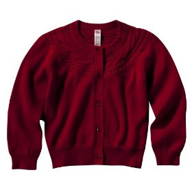 Infant toddler girls' cherokee® red long-sleeve cable sweater