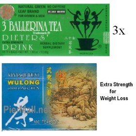 Wuyi wulong for weight loss (100 tea bags) + 3 ballerina extra strength diet tea (54 teabags)