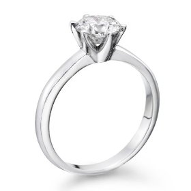 Certified, round cut, solitaire diamond ring in 18k gold / white (1 ct, h color, vs2 clarity)