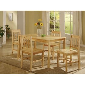 5 pc. natural solid pine wood dinette set table and 4 chairs